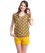 Greylin Khaki Beaded Polka Dot Chiffon Top Small  NWT $120 - $59.47