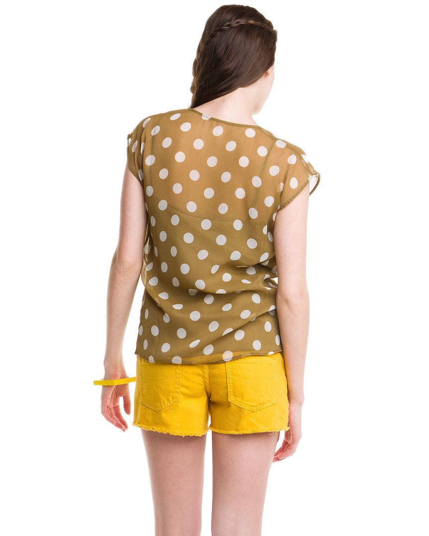 Greylin Khaki Beaded Polka Dot Chiffon Top Small  NWT $120