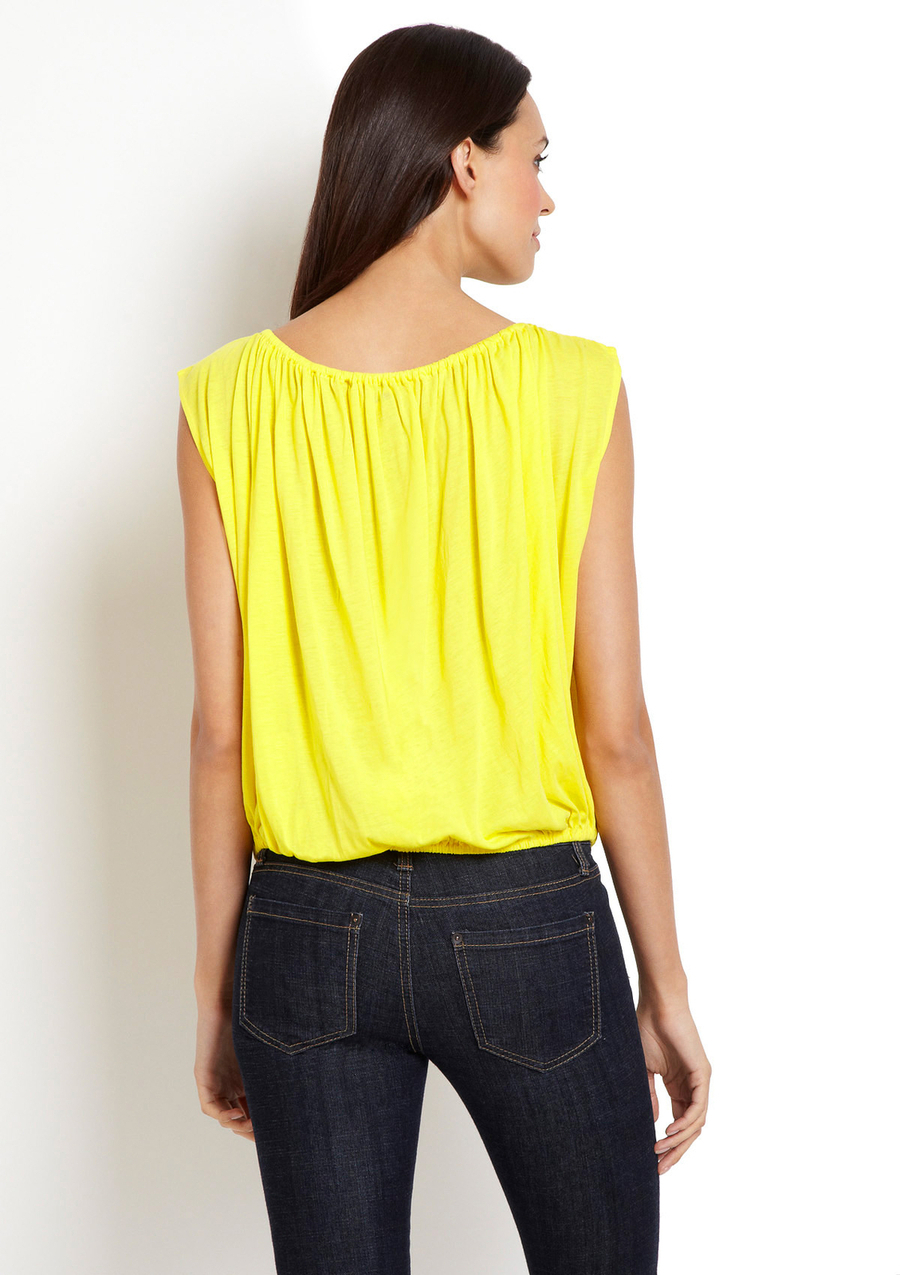 SHAE Sleeveless Yellow Boat Neck Top Small NWT