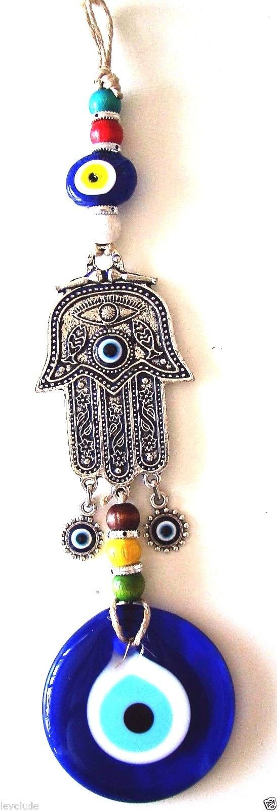 Hamsa Hand Fatima's Hand Wall hanging Amulet Turkish silver plated Evil Eye 30cm