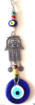 Hamsa Hand Fatima's Hand Wall hanging Amulet Turkish silver plated Evil ... - $21.49