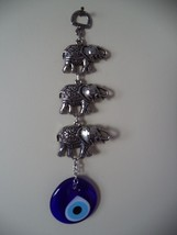 Wall Hanging Amulet Turkish Silver Plated Three Elephant with Evileye - $10.39
