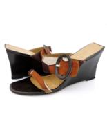 Stuart Weitzman Womens 9.5M Brown Black Buckle Wedge Heel Platform Sandals - $22.99