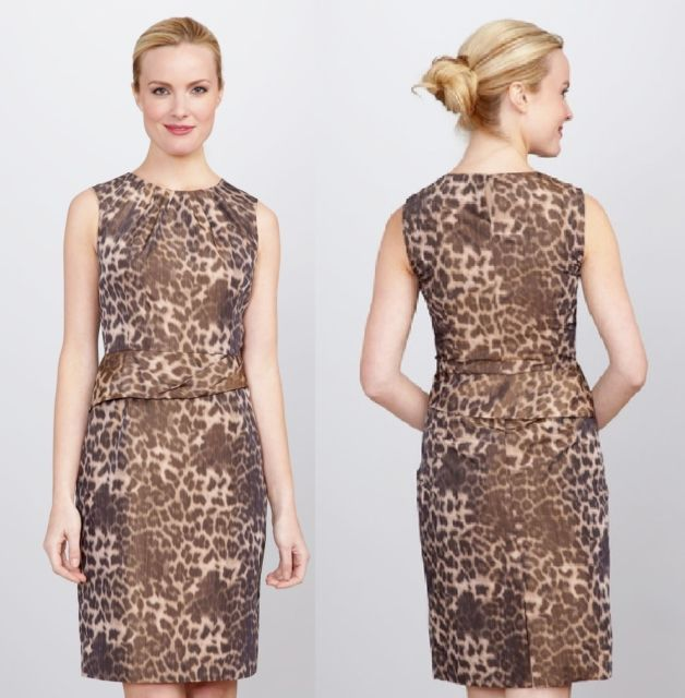 AK ANNE KLEIN Leopard Taffeta Dress  Sz 2 NWT $118