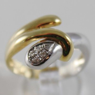 SOLID 18K YELLOW AND WHITE GOLD RING WITH DIAMONDS, SNAKE, HUG, MADE IN ITALY