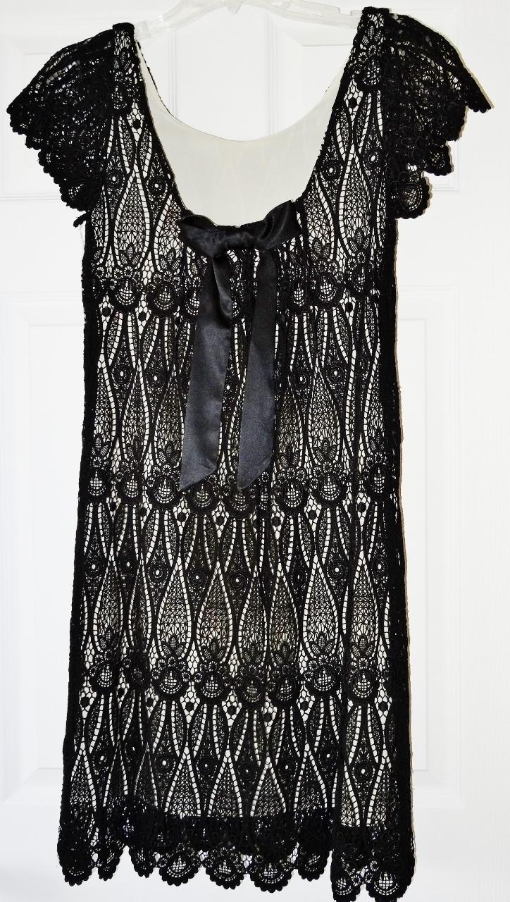 ECI Black Crochet Stretch Dress Sz 2 NWT $166