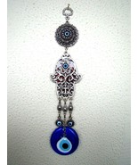 Hamsa Hand Religious Wall hanging Amulet  Silver Plated,Burgundy & Evile... - $15.88