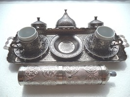 Authentique Antique Silver Turkish Coffee Espresso Set with Silver Grind... - £44.10 GBP