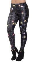 BadAssLeggings Women's Pacman Leggings Medium-Tall Black - $18.80