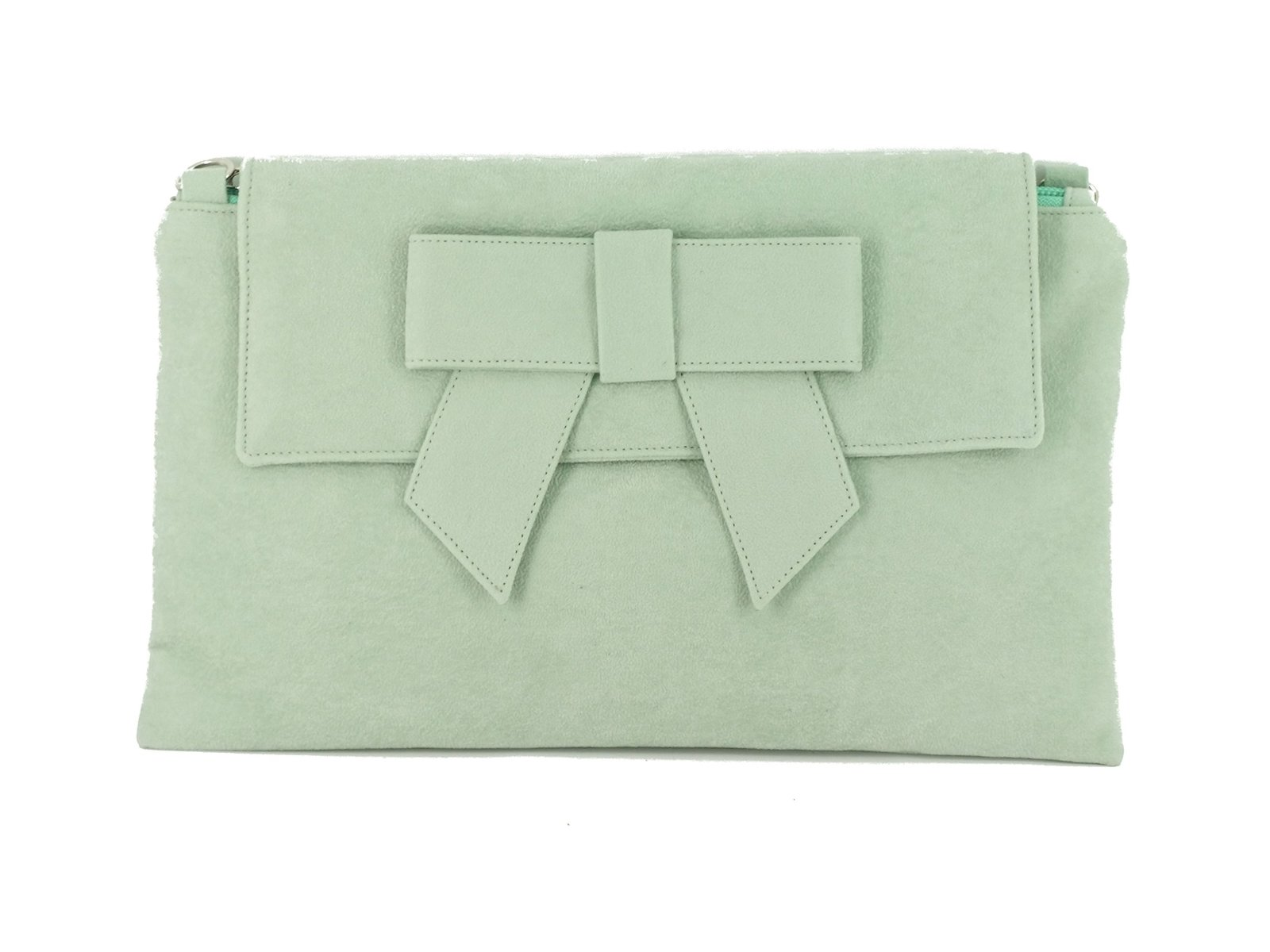 LONI Womens Clutch Bag Shoulder Bag Wristlet in Suede Faux Leather in Aqua Pa...