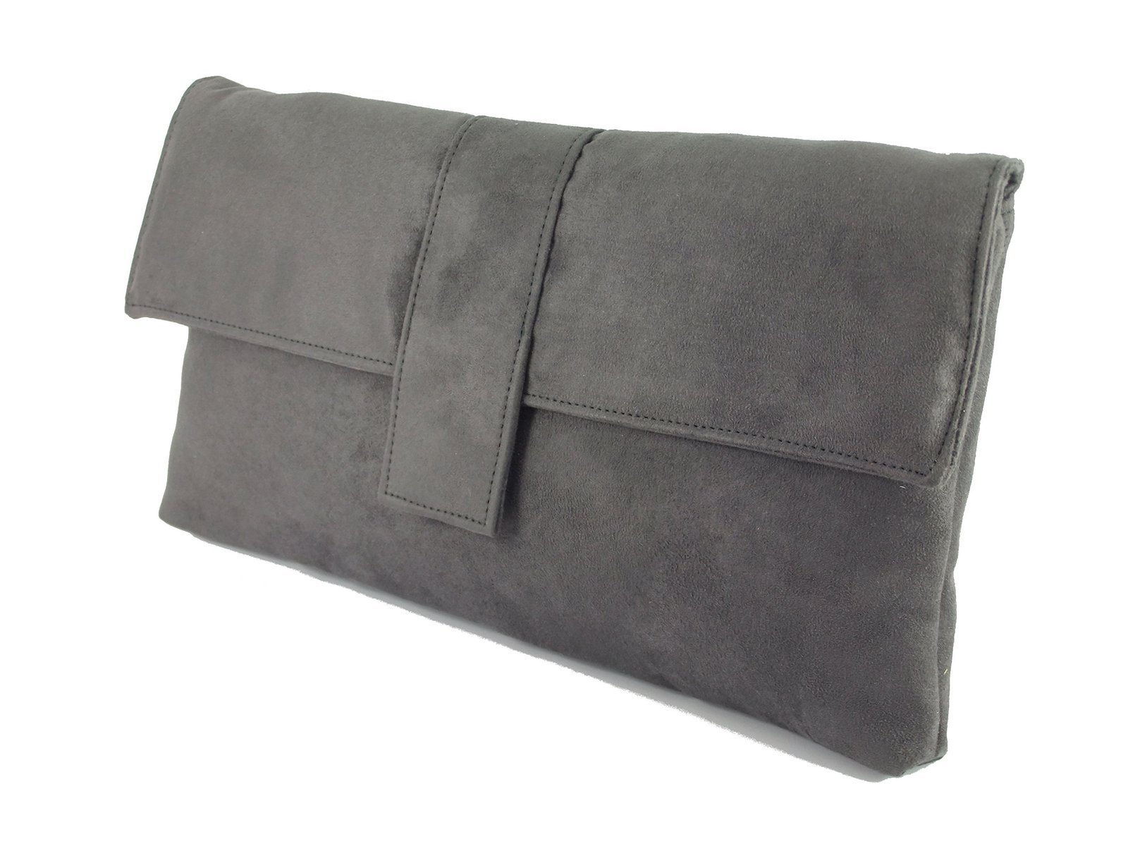 Loni Womens Fab Large Faux Suede Clutch Bag/Shoulder Bag In Charcoal Grey