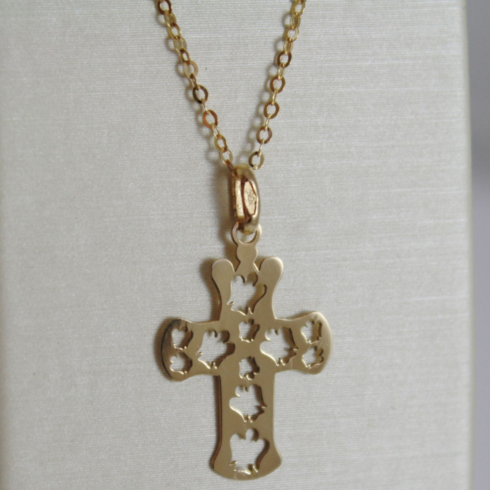 ROBERTO GIANNOTTI 9K YELLOW GOLD NECKLACE WITH ANGEL CROSS PENDANT MADE IN ITALY