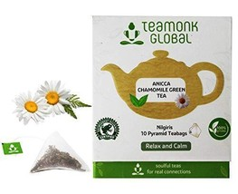 Teamonk Anicca Nilgiri Chamomile Green Tea Bags - 10 Teabags | Tea for Relaxatio - $10.99