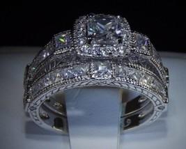 3.4 C Princess Cut Diamond 925 14 K White Gold Engagement Wedding Ring Set Sz 9 - $44.87