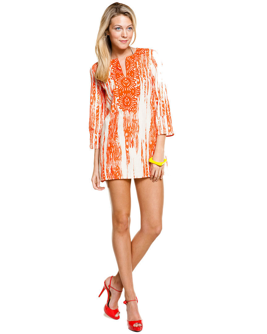 "KAS New York ""Shawna"" Tangerine Feather Print Tunic Small NWT $145"
