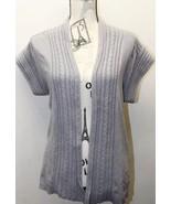Zara Knit Women Open Sweater Blouse Gray Cable M Cotton Shorts Sleeve - $30.72