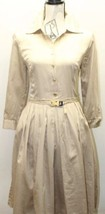 Ellen Tracy Women Dress Brown Safari Long Pleated L/S Gold Buckle Belt 10 - $57.85