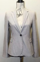 Zara Women Blazer Gray Light Brown One Button Small Tailored Lined Cotton - $34.57
