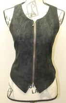Danier Women Vest Black Zip Leather Small Made In Canada Tapered Sexy - $34.57