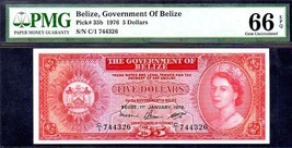 """BELIZE P35b $5 """"QUEEN ELIZABETH II"""" 1976 PMG 66EPQ GEM! BRITISH HONDURAS - $695.00"""