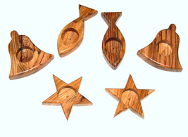 Olive Wood Candle Holder Fish Bell Star Bethlehem Holy Land Christmas De... - $9.99