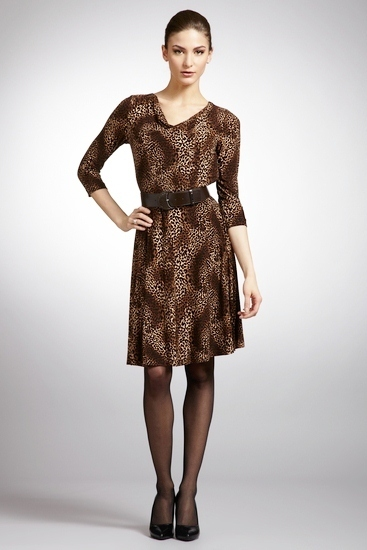 TAHARI ARTHUR S. LEVINE Animal Long Sleeve Belted Dress NWT- 2- $138
