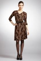 TAHARI ARTHUR S. LEVINE Animal Long Sleeve Belted Dress NWT- 2- $138 - $68.86