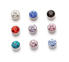 1 PAIR MAGNETIC DIAMANTE STUD EARRINGS ROUND Clear,Black,Red,Blue,Pink M... - $3.91+