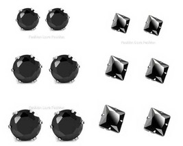 3 PAIRS,Black Round Or Square,Magnetic Cubic Zirconia CZ Stud Earrings M... - $17.14+