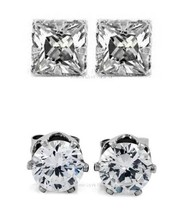 2 PAIRS CZ CLEAR ROUND+SQUARE MAGNETIC STUD EARRINGS Men Women - $9.79+