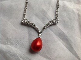 Swarovski Elements Silver tone white stone red bubble pendant necklace  - $34.64