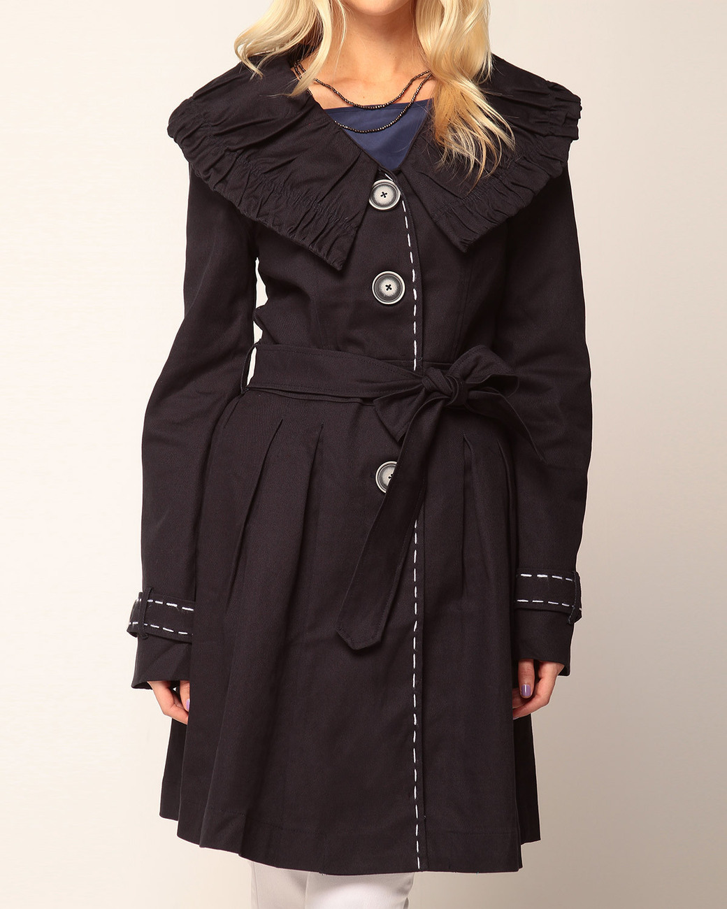 Nick & Mo Pleated Trench Coat  Small  NWT