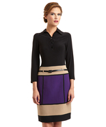 CHETTA B. Long Sleeve Dress with Colorblock Skirt Sz 4 NWT $138 - $49.00