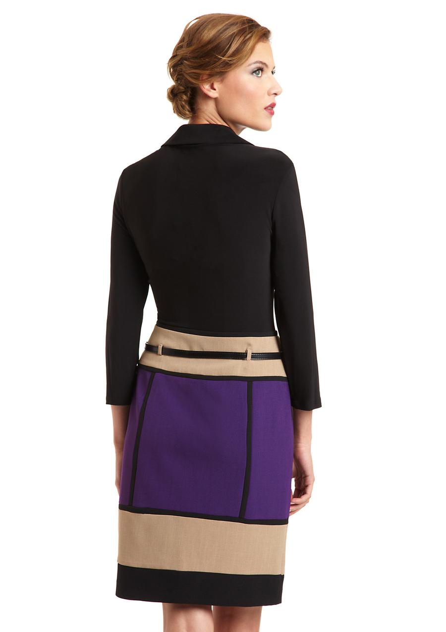 CHETTA B. Long Sleeve Dress with Colorblock Skirt Sz 4 NWT $138