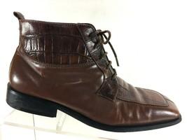 giorgio brutini Mens Ankle Boots Size 8 M Croc Print Split Toe Leather S... - $38.87
