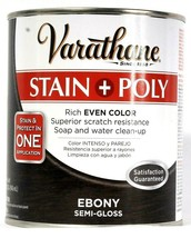 1 Varathane 32 Oz Stain & Poly In 1 Application 214464  Rich Ebony Semi ... - $23.99