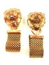 Lion Figural Earrings Golden Mesh Metal Novelty Clip on Earrings Wild An... - $29.70