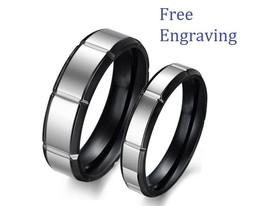Free Engraving Black & Silver Stainless Steel Couple Matching Wedding Ri... - $364,62 MXN