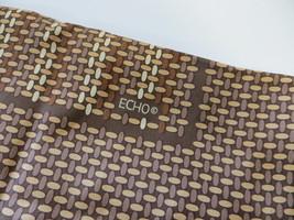 "Vintage ECHO Designer Scarf Brown Tan Graphic Dots Japan 23"" Square Silk... - $24.74"