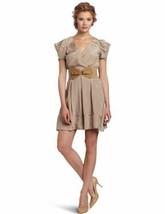 Jessica Simpson Neutral Color V Neck Dress Unique Sleeves Belt Sz 6 NWT ... - $39.99