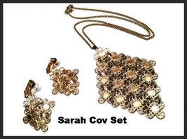 Sarah Coventry Set Golden Demi Parure Necklace Pendant Earrings Vintage ... - $44.55