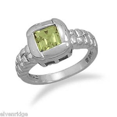 Peridot with Overlapped Edge Design Ring Sterling Silver sizes 6 through 10