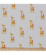 """Two- Layer Softee Double Gauze 58"""" Cotton Baby Yellow Giraffes Bird BTY D161.12 - $12.47"""
