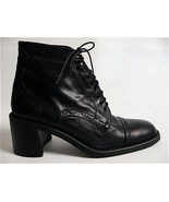OXFORD LACE-UP GRANNY BOOTS BLk LEATHER 6.5M NEW VTG - $39.99