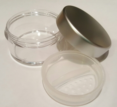 Lot 3 Silver Empty 30 Gram Sifter Jars Pots Mineral Makeup Foundation Minerals - $6.95