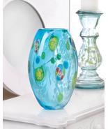 BLUE FLORAL GLASS VASE - $29.95