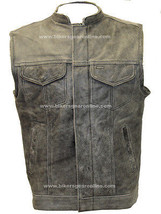 MEN'S MOTORCYCLE DISTRESSED GREY SON OF ANARCHY STYLE LEATHER VEST GUN P... - $116.86+