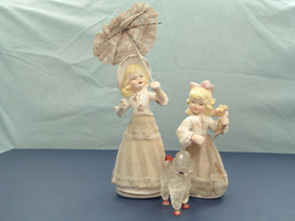 vintage bisque blond hair mother  daughter figurine pair with parasol po... - $28.60