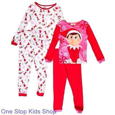 elf on the shelf girls 4 6 8 10 pjs set christmas holiday. Black Bedroom Furniture Sets. Home Design Ideas