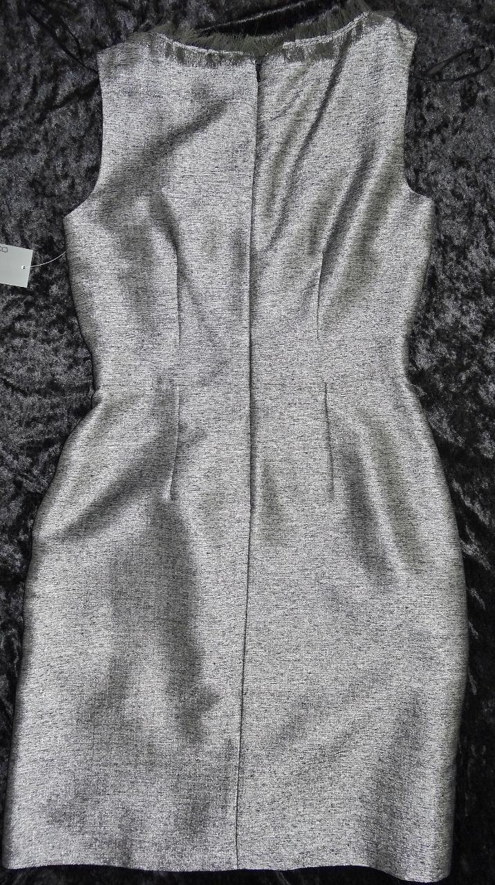 Donna Ricco Fringe Detail Metallic Shantung Dress Sz 4 NWT